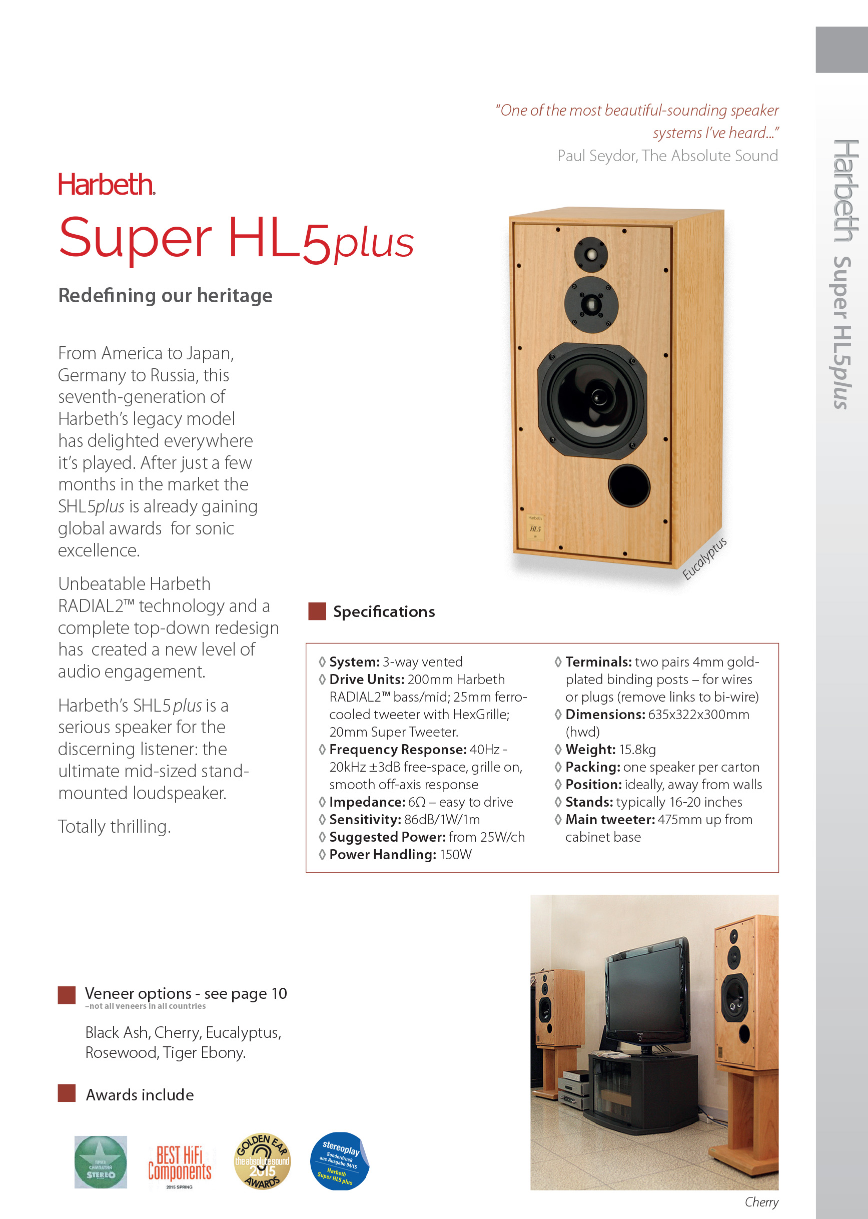 Pair of speakers Harbeth Super HL5+ Rosewood