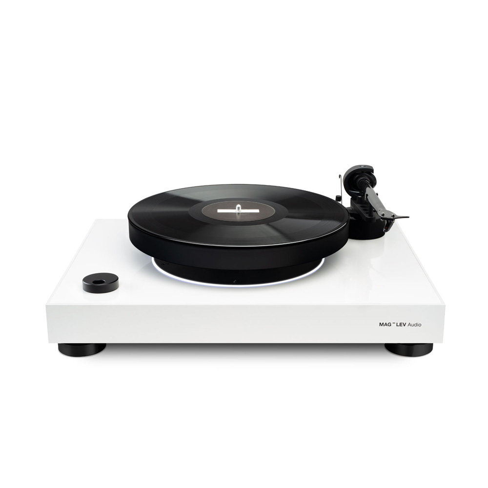 Mag-lev white turntable, Pro-Ject 9, OM10